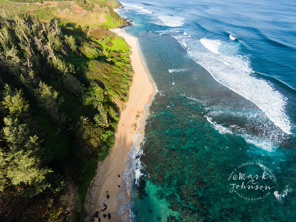 Aerial photograph of Pila'a beach, Kauai, Hawaii