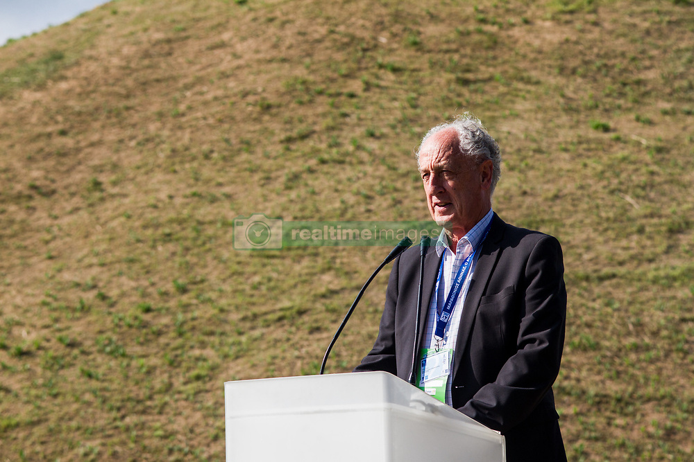November 10, 2018 - Athens, Greece - The president of AIMS, Mr Paco Borao, gives a speech during the ceremony. The opening ceremony of the 36th Athens Authentic Marathon took place today at the Marathonas Tomb where the battle between Athenians and Persians took place in 480 bc. After the win for Athenians, a runner run all the way to Athens to bring the good news and died from exhaustion right after, therefore the event is inspired from that incident. (Credit Image: © Kostas Pikoulas/Pacific Press via ZUMA Wire)