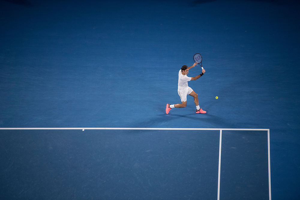 Roger Federer of Switzerland during the championship match of the 2018 Australian Open on day 14 at Rod Laver Arena in Melbourne, Australia on Sunday afternoon January 28, 2018.<br /> (Ben Solomon/Tennis Australia)