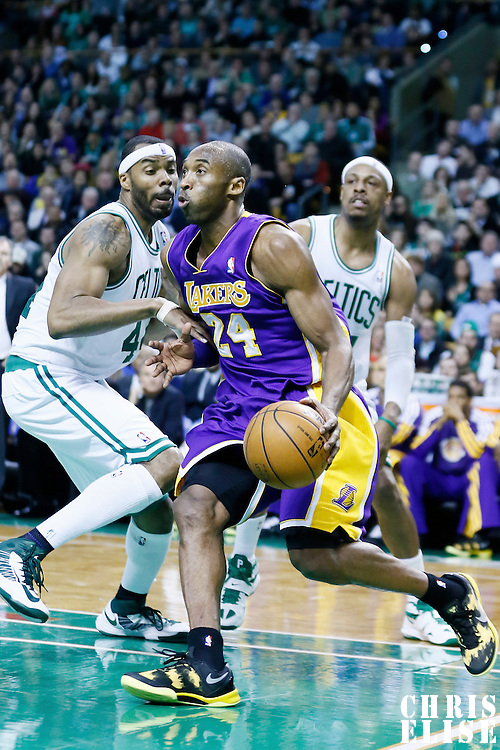 07 February 2013: Los Angeles Lakers shooting guard Kobe Bryant (24) drives past Boston Celtics power forward Chris Wilcox (44) and Boston Celtics small forward Paul Pierce (34) during the Boston Celtics 116-95 victory over the Los Angeles Lakers at the TD Garden, Boston, Massachusetts, USA.