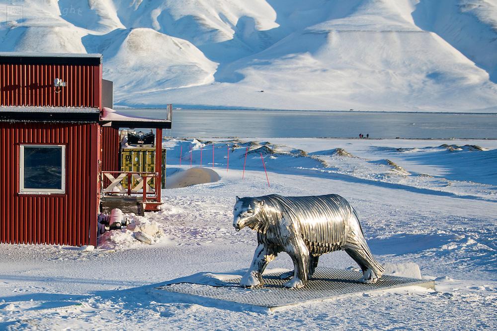 Metal polar bear sculpture in Svalbard, Norway