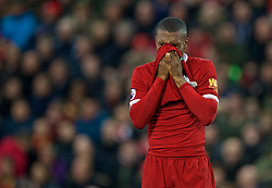 LIVERPOOL, ENGLAND - Saturday, October 28, 2017: Liverpool's Daniel Sturridge during the FA Premier League match between Liverpool and Huddersfield Town at Anfield. (Pic by David Rawcliffe/Propaganda)