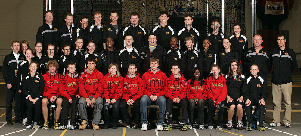 (Windsor, Ontario---12 March 2010) University of Guelph team photo from the 2010 Canadian Interuniversity Sport Track and Field Championships at the St. Denis Center. Photograph copyright Geoff Robins/Mundo Sport Images. www.mundosportimages.com