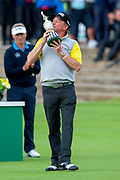 Miguel Angel Jimenez after winning the Rolex Senior Golf Open at St Andrews, West Sands, Scotland on 29 July 2018. Picture by Malcolm Mackenzie.