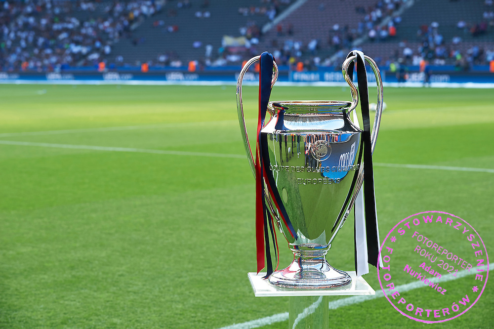 Champions League Cup displays during the 2014/15 UEFA Champions League Final between Juventus and FC Barcelona at Olympiastadion on June 6, 2015 in Berlin, Germany.<br /> Germany, Berlin, June 6, 2015<br /> <br /> Picture also available in RAW (NEF) or TIFF format on special request.<br /> <br /> For editorial use only. Any commercial or promotional use requires permission.<br /> <br /> Adam Nurkiewicz declares that he has no rights to the image of people at the photographs of his authorship.<br /> <br /> Mandatory credit:<br /> Photo by &copy; Adam Nurkiewicz / Mediasport