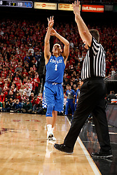 Kentucky guard Devin Booker celebrates a three point basket in the first half. <br /> <br /> The University of Louisville hosted the University of Kentucky, Saturday, Dec. 27, 2014 at Yum Center in Louisville. <br /> <br /> Photo by Jonathan Palmer