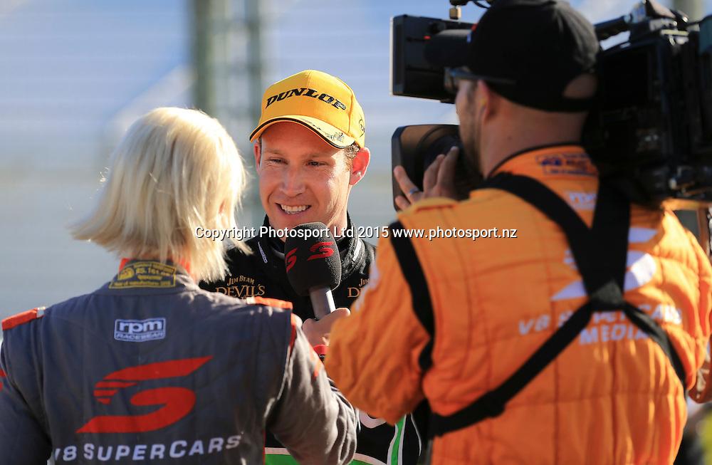 David Reynolds celebrates his win. ITM 500 V8 Supercars, Pukekohe, Auckland, New Zealand. Saturday, 07 November 2015. Copyright photo: John Cowpland / www.photosport.nz