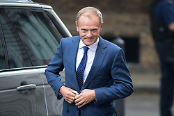 © Licensed to London News Pictures. 26/09/2017. London, UK. President of the European Council Donald Tusk meets British Prime Minister Theresa May (not pictured) in Downing Street. Photo credit : Tom Nicholson/LNP