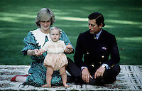 AUCKLAND, NEW ZEALAND - APRIL 1983: (FILE PHOTO)  Prince William is seen with his parents HRH Prince Charles and the late Princess Diana during their 1983 official visit to New Zealand, in April 1983 in Auckland, New Zealand. Prince William will be undertaking official engagements while on private visit in conjunction with the British and Irish Lions rugby tour from the end of June until July 11, 2005. (Photo by Anwar Hussein ).