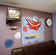 Game of darts showing on tv in engineering crew room of the Red Arrows, Britain's RAF aerobatic team.