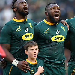 DURBAN, SOUTH AFRICA - AUGUST 18: South African players sing the national anthem during the Rugby Championship match between South Africa and Argentina at Jonsson Kings Park on August 18, 2018 in Durban, South Africa. (Photo by Steve Haag/Gallo Images)