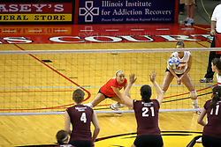 31 OCT 2008: Kasey Mollerus watches her dig hoping it will clear the net during a match in which the Missouri State Bears defeated the Redbirds of Illinois State 3 sets to 2 on Doug Collins Court inside Redbird Arena in Normal Illinois