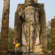 Wat Saphan Hin in Sukhothai. The Sukhothai kingdom was an early Thai kingdom in north central Thailand. It existed from during the 13, 14, 15th centuries The.old capital is in ruins and is a Historical Park..View from Feb, 2007.