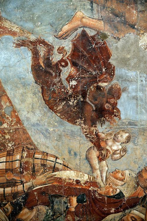 Detail from 14 C The Triumph of Death by Bonamico di Martino da Firenze, Buffalmacco, in the Camposanto, Pisa, Tuscany, Italy