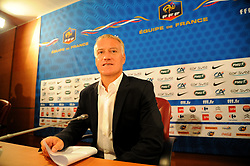 France's national football team's coach, Didier Deschamps listens during a press conference at the French football federation (FFF) headquarters in Paris, France on August 9, 2012, to announce the France squad to face Uruguay in a friendly match on August 15. Deschamps out Yann M'Vila and Hatem Ben Arfa from his first squad as France manager, explaining that they were not selected because of discipline issues during Euro 2012. Photo by ABACAPRESS.COM