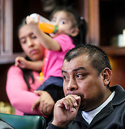 Immigrant Mario Vargas and his family in a news conference before a court appearance on Thursday, Feb. 9, 2017 in Los Angeles. Vargas attended his first removal hearing before an immigration judge since being released from Immigration Detention in 2014. He is accompanied by his daughter, Jersey, who, when she was 10, traveled to Rome three years ago and asked Pope Francis - one day before he was to meet with President Barack Obama - to intervene to prevent her father's deportation.  (Photo by Ringo Chiu/PHOTOFORMULA.com)<br /> <br /> Usage Notes: This content is intended for editorial use only. For other uses, additional clearances may be required.