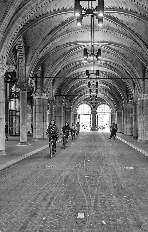 AMSTERDAM, NETHERLANDS - FEBRUARY 08:  Exterior bicicle passage at Rijksmuseum on February 08, 2015 in Amsterdam. The Rijksmuseum is located at the Museum Square, first opened its doors in 1885.