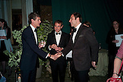 LORD ALEXANDER SPENCER-CHURCHILL; BEN GOLDSMITH; DAVID WALLIAMS. The Ormeley dinner in aid of the Ecology Trust and the Aspinall Foundation. Ormeley Lodge. Richmond. London. 29 April 2009