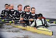 Putney, GREAT BRITAIN,  Crew Personality. left to right, Bow Dan SHAUGHNESSY, 2. Shane O'MARA, 3. John CLAY, 4. Ryan MONAGHAN, 5. Fred GILL, 6. Deaglan McEACHERN, 7. Hardy CUTBASCH, stroke,. Rob WEITEMAYER and cox Rebecca DOWBIGGIN, during the 2008 Varsity/Cambridge University Trial Eights, raced over the championship course. Putney to Mortlake, Tue. 16.12.2008. [Mandatory Credit, Peter Spurrier/Intersport-images] Varsity Boat Race, Rowing Course: River Thames, Championship course, Putney to Mortlake 4.25 Miles,
