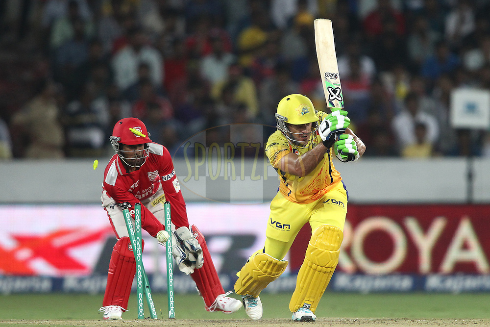 Francois Du Plessis of the Chennai Super Kings is bowled by Akshar Patel of the Kings XI Punjab during the second semi final match of the Oppo Champions League Twenty20 between the Kings XI Punjab and the Chennai Superkings held at the Rajiv Gandhi Cricket Stadium, Hyderabad, India on the 2nd October 2014<br /> <br /> Photo by:  Shaun Roy / Sportzpics/ CLT20<br /> <br /> <br /> Image use is subject to the terms and conditions as laid out by the BCCI/ CLT20.  The terms and conditions can be downloaded here:<br /> <br /> http://sportzpics.photoshelter.com/gallery/CLT20-Image-Terms-and-Conditions-2014/G0000IfNJn535VPU/C0000QhhKadWcjYs