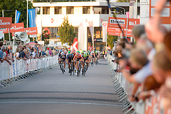 Amalie Dideriksen (Boels Dolmans) takes the lead of the sprint in the final 100 metres from Barbara Guarischi (CANYON//SRAM Racing) at the 103 km Stage 1 of the Boels Ladies Tour 2016 on 30th August 2016 in Tiel, Netherlands. (Photo by Sean Robinson/Velofocus).