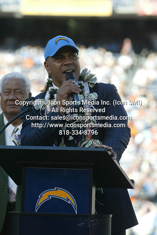 November 27, 2011; Junior Seau during his induction into the Chargers Ring of Honor. The Denver Broncos defeated the San Diego Chargers by the final score of 16-13 in overtime at Qualcomm Stadium in San Diego, CA.