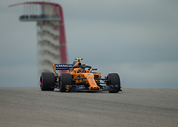 October 20, 2018 - Austin, USA - McLaren driver Stoffel Vandoorne (2) of Belgium comes over the hill at Turn 10 during qualifying at the Formula 1 U.S. Grand Prix at the Circuit of the Americas in Austin, Texas on Saturday, Oct. 20, 2018. (Credit Image: © Scott Coleman/ZUMA Wire)