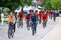 ROTTACH-EGERN, GERMANY - Thursday, July 27, 2017: Liverpool players cycle to training from the Seehotel Uberfahrt on the banks of Lake Tegernsee on day two of their preseason training camp in Germany. (Pic by David Rawcliffe/Propaganda)