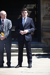 © Licensed to London News Pictures. 22/05/2018. Manchester, UK. Andy Burnham arrives at the memorial service at Manchester cathedral. Today marks the first anniversary of the Manchester Arena bombing. 22 people died when Salman Abedi detonated a bomb at an Ariana Grande concert. Photo credit: Andrew McCaren/LNP