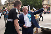 MIKE GREENE, BREXIT PARTY CANDIDATE, Brexit party campaigning in Peterborough before the byelection caused by the jailing of the local MP for a lying about a speeding offense.  1 June 2019MIKE GREENE