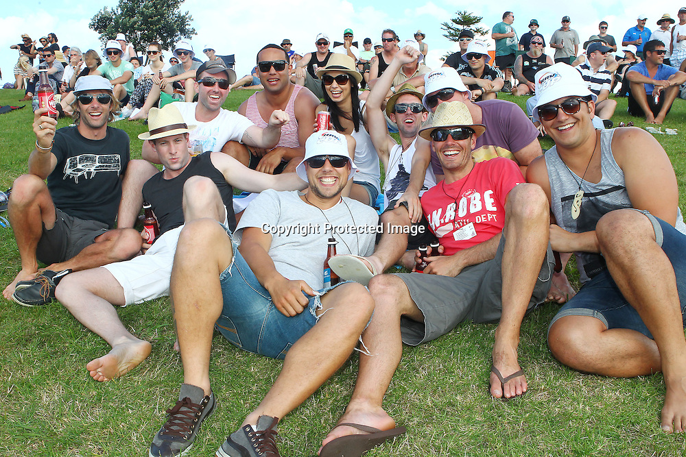 Spectators during the HRV Cup match between the Northern Knight v Central Stags. Men's domestic Twenty20 cricket. Blake Park, Mt Maunganui, New Zealand. Thursday 5 January 2012. Ella Brockelsby / photosport.co.nz