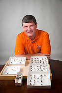 Eric Rebek Professor at Oklahoma State University displays his collection of wasp. Wasp can be both beneficial and pest as either a pollinators or stinging insects.