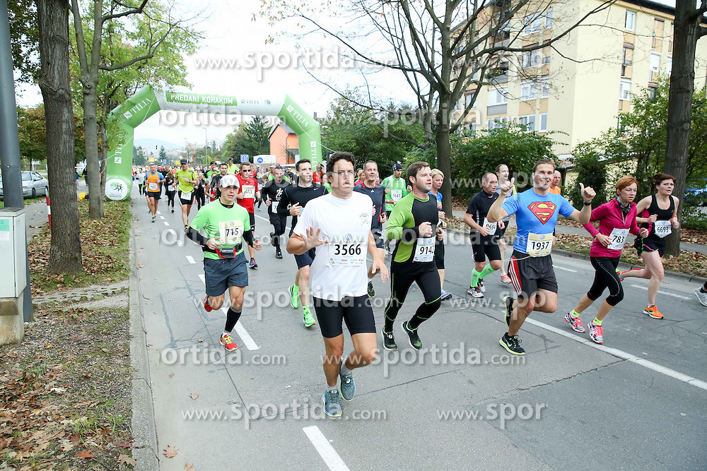 Runners compete during 21km and 42km run at 19th Ljubljana Marathon 2014 on October 26, 2014 in Ljubljana, Slovenia. Photo by Vid Ponikvar / Sportida.com