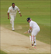 Ian Bell of England is bowled by Makhaya Ntini on the final day day of the fourth Test at the Oval on the 11th of August 2008..England v South Africa.Photo by Philip Brown.www.philipbrownphotos.com