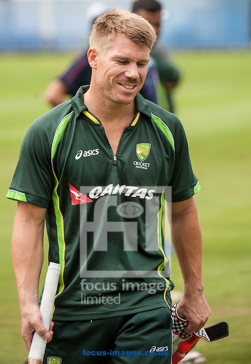 David Warner during the Australia Cricket Practice at Lord's, London.<br /> Picture by Jack Megaw/Focus Images Ltd +44 7481 764811<br /> 15/07/2015