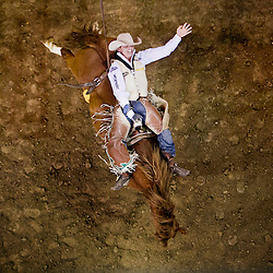 Saturday July 20, 2013<br /> Ryan Gray from Cheney, Washington holds on tight as he rides Hell's Fire Hostage in the Bareback Bronc Riding finals of the Snake River Stampede at the Idaho Center in Nampa. Grey tied for second place with 84 points.<br /> AP PHOTO KYLE GREEN / THE IDAHO STATESMAN