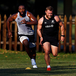 DURBAN, SOUTH AFRICA - MAY 21: Tendai Beast Mtawarira with Akker van der Merwe of the Cell C Sharks during the Cell C Sharks training session at Jonsson Kings Park on May 21, 2019 in Durban, South Africa. (Photo by Steve Haag/Gallo Images)