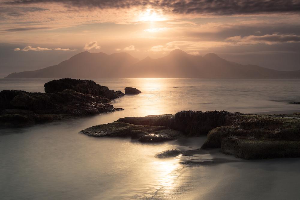Isle of Rum from Laig bay, Isle of Eigg