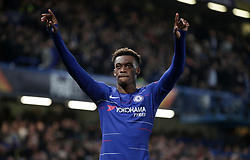 Chelsea's Callum Hudson-Odoi celebrates scoring his side's third goal of the game during the UEFA Europa League round of 32 second leg match at Stamford Bridge, London.