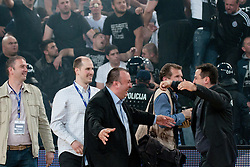 Partizan bench celebrating victory after final match of Basketball NLB League at Final Four tournament between KK Union Olimpija (SLO) and Partizan Belgrade (SRB), on April 21, 2011 at SRC Stozice, Ljubljana, Slovenia. (Photo By Matic Klansek Velej / Sportida.com)
