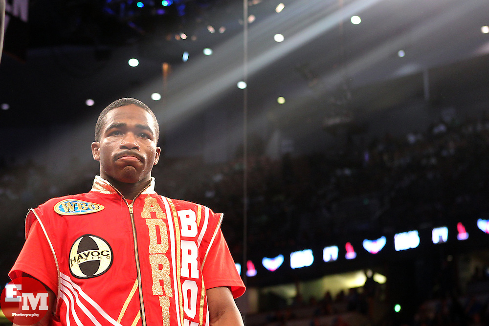 March 5, 2011; Anaheim, CA; USA; Adrien Broner and Daniel Ponce De Leon during their bout on HBO's Boxing After Dark at the Honda Center in Anaheim, CA.
