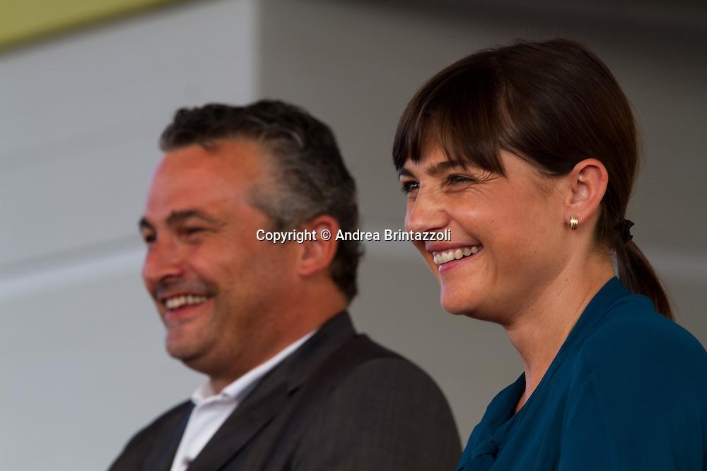 Bologna 27 Agosto 2014 - Inaugurazione Festa Nazionale de L'Unit&agrave;. Che storia, il futuro!<br /> Nella foto: Raffaele Donini, Debora Serracchiani
