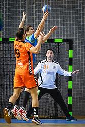 Sebastian Skube of Slovenia and Robin Schoenaker of Nederland during friendly handball match between Slovenia and Nederland, on October 25, 2019 in Športna dvorana Hardek, Ormož, Slovenia. Photo by Blaž Weindorfer / Sportida
