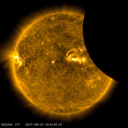 August 21, 2017 - U.S. - Shadow. A total solar eclipse swept across a narrow portion of the contiguous United States from Lincoln Beach, Oregon to Charleston, South Carolina. A partial solar eclipse was visible across the entire North American continent along with parts of South America, Africa, and Europe. (Credit Image: © NASA via ZUMA Wire/ZUMAPRESS.com)