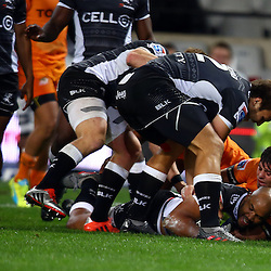 DURBAN, SOUTH AFRICA, 9,JULY, 2016 JP Pietersen of the Cell C Sharks over for a try during The Cell C Sharks vs Toyota Cheetahs  Super Rugby Match at Growthpoint Kings Park in Durban, South Africa. (Photo by Steve Haag)<br /> <br /> images for social media must have consent from Steve Haag