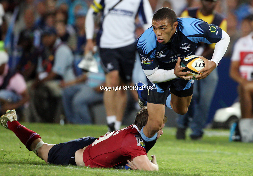PRETORIA, South Africa, Ben Lucas stops Bryan Habana during the Super 14 match between the Bulls and the Reds held at Loftus Versfeld in Pretoria on the 14 February 2009..Photo By Barry Aldworth/ SPORTZPICS