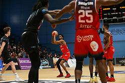 Levi Bradley of Bristol Flyers shoots - Photo mandatory by-line: Arron Gent/JMP - 07/12/2019 - BASKETBALL - Surrey Sports Park - Guildford, England - Surrey Scorchers v Bristol Flyers - British Basketball League Championship