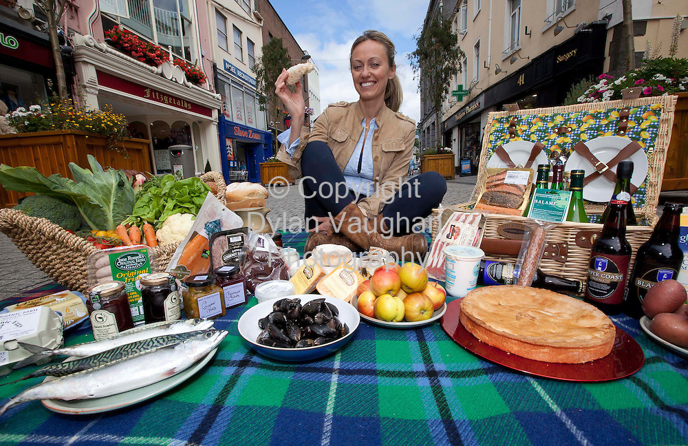 13/8/2010.Free picture no charge for use.Waterford Harvest Festival 2010 Announced.Celebrity chef Clodagh McKenna was on hand today in Waterford city to launch the 2010 Waterford Harvest Festival, which takes place from the 10th to the 19th of September..This mouth-watering ten day festival promises a feast of events, ranging from food markets, craft villages, free outdoor gigs and street parties, barbeques, delicious tasting workshops, restaurant trails, an historic feast at Waterford Castle, cookery demonstrations by celebrity chefs including Darina Allen and Clodagh McKenna, a giant Céilí Mór, the Imaginosity Marquee, steam engines, vintage tractors, a sheaf throwing competition, food tours to artisan producers, along with lots of free and fun activities for all the family. Serious foodies take note! - throughout the festival, Slow Food Ireland have organised events designed to give 'Food for Thought', including taste workshops, lectures, food tours and an artisan food competition..The festival promises to be an event to suit all tastes and a delicious way to spend your time in Waterford city. Waterford Harvest Festival is supported by Waterford City Council. Event partners include Bord Bia, Slow Food Ireland, Failte Ireland, WIT,Supervalu, Dawn Meats, Waterford Macra na Feirme, and WLRFM..See www.waterfordharvestfestival.ie or find the festival on Facebook..Photograph Dylan Vaughan.