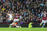 Adnan Januzaj of Manchester United opens the scoring  during the Barclays Premier League match between Aston Villa and Manchester United at Villa Park, Birmingham, England on 14 August 2015. Photo by Phil Duncan.