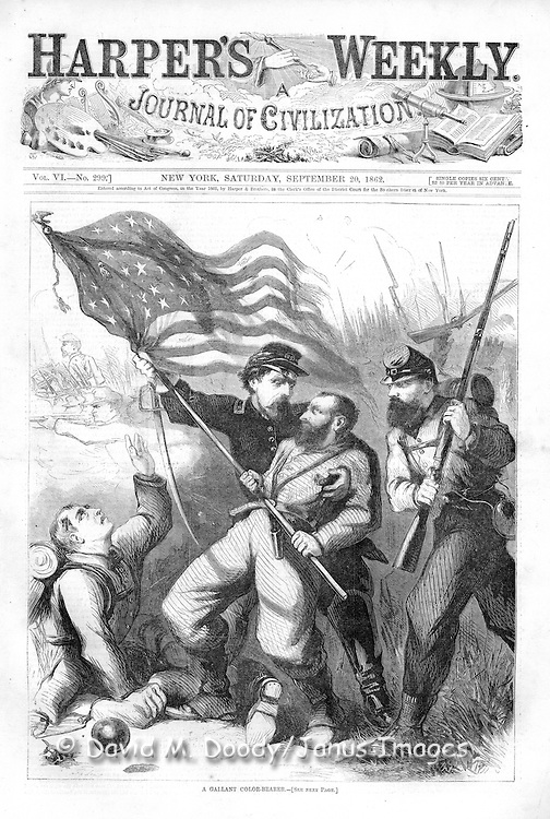 "Cover: Civil War ""The Gallant Color-Bearer, touching devotion to the flag"".  H. Alexander of the 10th New York Regiment, wounded 3 times but still clung to the flag. Illustration from Harper's Weekly September 20, 1862"